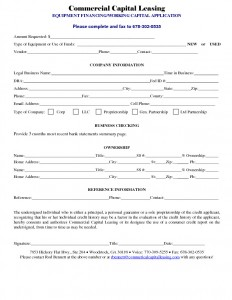 Commercial Capital Leasing Application document